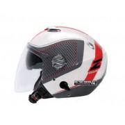 Capacete ZEUS 202 FB - Branco/Cinzento Escuro/Vermelho